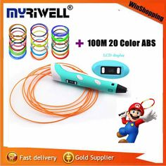 MYRIWELLL 3d pEN 2st Generation 3D Printing Pen LED Display Screen Add Free 100M 20 Color ABS Filament Best DIY Gift For Kids #>=#>=#>=#>=#> Click on the pin to check out discount price, color, size, shipping, etc. Save and like it!