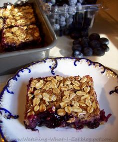 Watching What I Eat: Low-Fat Blueberry Oat Bars