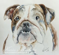 English Bulldog Watercolor Arches Paper 140 lb For more info: I share my creative projects here: https://www.instagram.com/peppermintpatty42/ and on my blog: http://peppermintpattys-papercraft.blogspot.se and on pinterest; https://www.pinterest.se/peppermint42/my-watercolors/