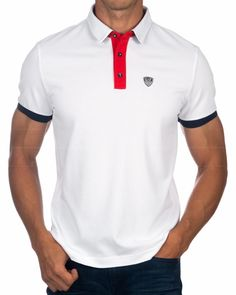 Sudadera Emporio Armani - Sea World St Tropez Blanco Smart Casual Polo Shirt, Smart Casual Menswear, Polo Shirt Design, Tee Shirt Designs, Armani Polo, Emporio Armani, Camisa Polo, Armani White, Mens Polo T Shirts
