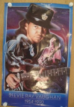 Original promo poster for Stevie Ray Vaughan from 1991. 22 x 35 inches on thin glossy paper. Water damage, light edge wear and handling marks.