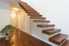Modern wood staircase ideas modern wood stairs against a white wall and no balustrade home decor stores in delhi Wood Staircase, Floating Staircase, Staircase Design, Stair Handrail, Staircase Ideas, Staircase Bookshelf, Bookshelf Design, Floating Wall, Staircases