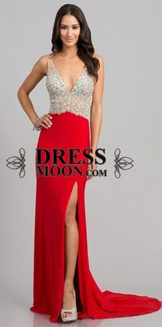 2015 prom dress, red evening dress crystal bodice open slit for teens, ball gown, formal dress #promdress