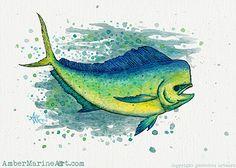 "Giclée Art Print • ""Mahi Mahi Splash"" - Watercolor art of a bull mahi, (aka dolphin fish or dorado) by Amber Marine ••• AmberMarineArt.com ••• ©"