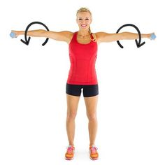 *Weighted Arm Circles (will sculpt shoulders & arms):  Stand w/your feet shoulder-width apart, a light weight in ea hand. Extend arms out to each side, parallel to ground w/palms facing ground. Draw small, controlled circles in a clockwise motion w/weights for 30 seconds. After 30 seconds, switch to a counterclockwise motion for 30 seconds. Remember to keep your back straight & abs in tight. Do not arch your back. If you feel yourself compromising your form, drop to a lighter set of…