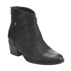 C Label Ae34 Women'S Rear Zipper Perforated Strapy Block Heel Ankle Booties