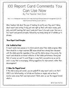 9 Best Report Card Comments Images Parents As Teachers Remarks
