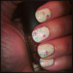 I'm calling these unicorn nails. Off white base with cherimoya electric heaven