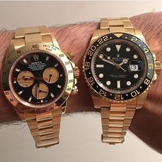 18k Yellow Gold Daytona W/ Black Paul Newman Dial & 18k Yellow Gold Ceramic Black Dial Gmt - - Contact ...