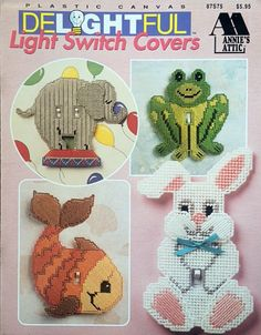 Plastic Canvas Patterns Add a little whimsy to your childs bedroom, playroom or nursery with these delightful Light Switch Covers 9 design for Plastic Canvas Annies Attic, Pub. in 1994 Includes Elephant Frog Fish Bunny Bear Cat Dinosaur Butterfly Lion Plastic Canvas Books, Plastic Canvas Crafts, Plastic Canvas Patterns, Baby Afghan Crochet Patterns, Needlepoint Patterns, Dinosaur Light, Switch Plate Covers, Switch Plates, Lighted Canvas