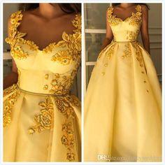 Amarillo vintage 2019 vestidos de noche africanos Spaghetti una línea de tul vestidos de baile vestidos de fiesta de dama de honor baratos baratos formales atractivos