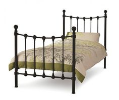 Black Polished Iron Bed With Tall Headboard With Full Size Metal ...
