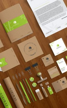 Very nice identity system. Kraft color and bright lime green make a nice color palette. The white helps to break up the natural tones a bit. Designer did well to extend the visual system to other items to make the entire set cohesive. Corporate Identity Design, Brand Identity Design, Business Branding, Visual Identity, Business Card Design, Branding Design, Logo Design, Visiting Card Design, Letterhead Design