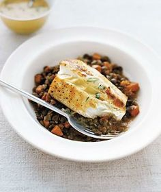Halibut With Lentils and Mustard Sauce from realsimple.com #myplate #protein #vegetables