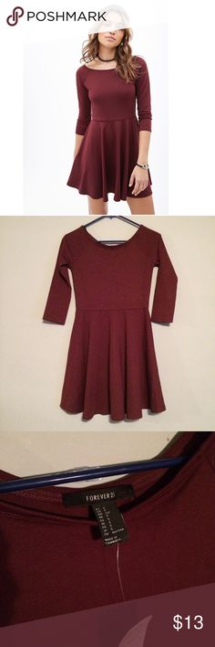 Ⓜ️ Burgundy Wine fit & flare skater dress Cute, cute, so cute!  NWT small & stretchy deep burgundy fit & flare/skater dress! SMALL & true to size if not smaller - I'm a S/M and it ran way too small for me (up top/chest). Sweet scoopneck, 3/4 sleeves - perfect for fall & winter! Sweet party dress or beautiful tailgate outfit! MSU Mississippi State, Texas A&M, USC South Carolina, etc! No-trade zone. Offers might not be taken on NWT items, but save $2 on Ⓜ️ercari + $3 shipping! Forever 21…