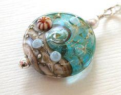 White & Aqua Sea Glass Necklace Nautical Necklace Beach