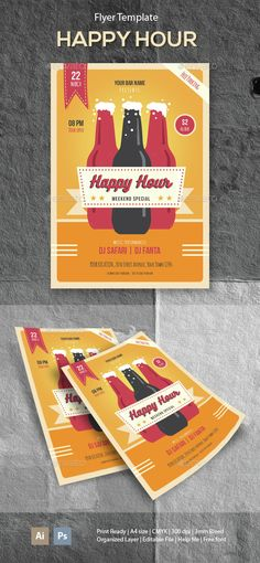 Happy Hour Flyer Template PSD, Vector AI. Download here: http://graphicriver.net/item/happy-hour-flyer-template/14669584?ref=ksioks