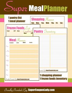 Printable Meal/Shopping/Kitchen Organizer Planner - Super Coupon Lady