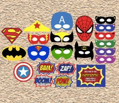 printable Superhero masks photo booth props, digital Superhero party favors photobooth costumes dress up by redmorningstudios on Etsy https://www.etsy.com/listing/180456862/printable-superhero-masks-photo-booth