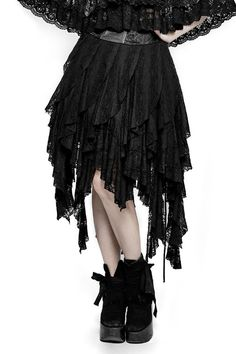 Decadence Skirtby Punk Rave consists of an inner cotton jersey skirt which measures approx 20inches from waist to just above the knee. Attached to this are swathes of soft black lace forming a witchy hemline.