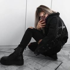 Black jacket with ripped black skinny pants, oversized fishnet leggings & black combat boots by kitten.jpg_