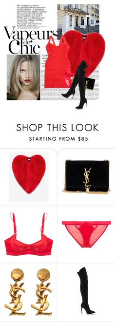 """""""Untitled #1788"""" by hellohanna ❤ liked on Polyvore featuring Givenchy, Yves Saint Laurent, Magdalena, Hervé Léger, Lascivious and Casadei"""