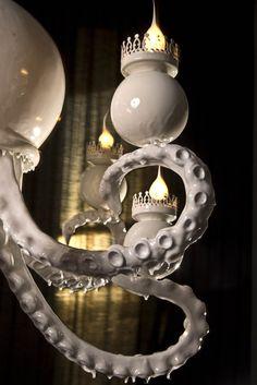 Caviglia's Cabinet of Curiosities: Octopus Chandelier Octopus Lamp, Octopus Decor, Loft Design, House Design, Cabinet Of Curiosities, Light Shades, My Dream Home, Modern Decor, Furniture Decor