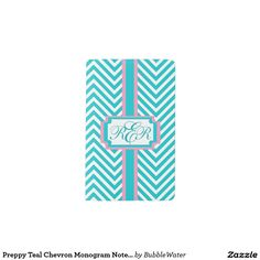 Preppy Teal Chevron Monogram Notebook Cover Pocket Moleskine Notebook Cover With Notebook