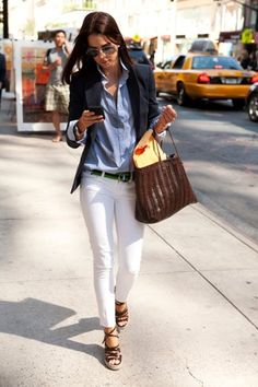 Casual work outfit: navy blazer, denim or chambray button-up shirt, white skinny jeans, wedge sandals