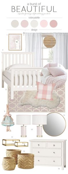 A Sweet And Whimsical Toddler Bedroom Featuring Soft Color Palette Consisting Of Blush Cream