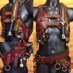 The steampunk demon hunters vest. : The steampunk demon hunters vest. Steampunk Mode, Steampunk Accessoires, Steampunk Fashion, Gothic Fashion, Steampunk Cosplay, Fantasy Armor, Fantasy Weapons, Armadura Steampunk, Mode Halloween