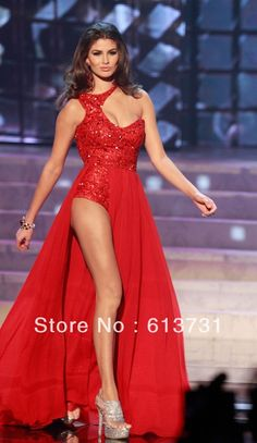Vestidos de noche en Miss Universo 2013 Pageant Gown Sexy High Side Slit Red Chiffon Crystal Beaded Evening Prom Dresses Long