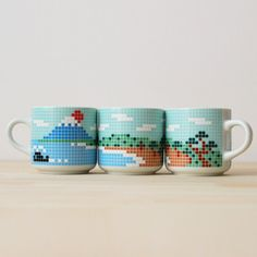 Cross-stitch mugs / Fujiyama mug set from The Mint House LOVE these!!!!!