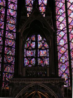Sainte Chapelle Cathedral, Paris.  One of the most beautiful sights in Paris! Story of the Bible told through stained glass. King had this done because his subjects could not read.