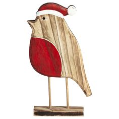 A cute Wooden Robin Christmas Decoration that perches on a wooden base so he can stand proud on a table or mantelpiece wearing his Festive red Santa hat. Mdf Christmas Decorations, Wooden Christmas Crafts, Diy Christmas Village, Wooden Crafts, Xmas Crafts, Rustic Christmas, Christmas Projects, Christmas Diy, Christmas Drawing