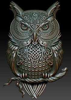 print model Celtic owl art brooch carving celtic cnc, formats STL, ready for animation and other projects Tribal Tattoos, Tattoos Skull, Celtic Tattoos, Wing Tattoos, Sleeve Tattoos, Owl Tattoo Drawings, Sculpture Art, Sculptures, Owl Wallpaper
