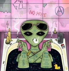 Emvency Throw Pillow Covers Cases Inch Decorative Cover Cushion Green Trippy Alien Smoke and Chill in Bath Cigarette Glasses Psychedelic Dope Cloud Two Sides Print Pillowcase Case Arte Alien, Alien Art, Arte Dope, Dope Art, Alien Aesthetic, Aesthetic Art, Art And Illustration, Trippy Drawings, Art Drawings