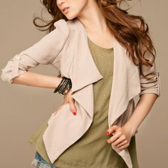 OL Style Long Sleeve Lapel Chiffon Women Coat Apricot