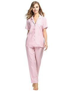 Avidlove Womens Cotton Pajama Set Button-Down Long Pjs Pa... https ...