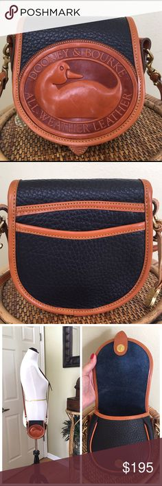 """VINTAGE DOONEY AND BOURKE BIG DUCK BAG Vintage D&B Big Duck Bag in Navy w/British Tan Trim.  Hard to find in such fantastic condition.  Some faint scratches to the front leather duck.  One darkened section on the shoulder strap (see pic #7) No wear to the piping.  1 exterior slip pocket, 1 interior slip pocket.  ALL MEASUREMENTS ARE APPROXIMATE: 5.75"""" W X 6.0"""" H X 2.5"""" D.  21.0"""" adjustable shoulder strap. Dooney & Bourke Bags Crossbody Bags"""