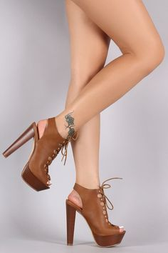 Studded Peep Toe Lace Up Platform Heel