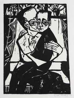 Erich HECKEL  (1883 - 1970)   Geschwister  1913  (Siblings)   Woodcut, on laid paper  Full sheet as published,  a deckle edge at left  Signed and dated lower right  A pen and ink inscription probably by the artist on the reverse  Subject: 41 x 30.8 cm  Sheet size:  63.8 x 47.8 cm  Dube    http://www.rexirwin.com/index.htm