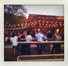 I really like the standup tables at this outdoor bar in Austin.
