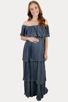 Elegant Blue Maternity Dress - Sexy Mama Maternity This elegant blue maternity dress is the perfect addition to your collection! Features a full, pleated ruffle design and a beautiful dark denim blue color. Constructed of an ultra soft, premium material that will flatter any figure with or without a bump! This dress is ideal for a date night, event or everyday wear. This elegant blue maternity dress is a total win, throughout pregnancy and beyond! #SexyMamaMaternity #bumpstyle #maternitydress Blue Maternity Dress, Cute Maternity Outfits, Pregnancy Outfits, Dark Denim, Blue Denim, Bump Style, Sexy Dresses, Female, Elegant