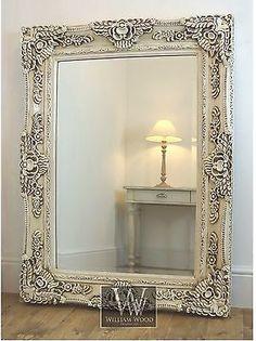 "Ella Cream Ornate Rectangle Antique Wall Mirror 47"" x 35"" X Large"