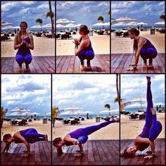 Toe squat to twist to side crow to fallen angel. I want to try this!