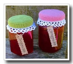 I love these crochet jar lid covers.
