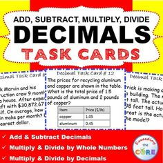 Percent problems task cards and recording sheet freebie middle decimals operations word problems task cards 40 cards use these 40 task cards fandeluxe Choice Image