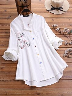 Gracila Embroidered Color Button Long Sleeve Casual Blouse look not only special, but also they always show ladies' glamour perfectly and bring surprise. Come to NewChic to choose the best one for yourself! Blouse Outfit, Plus Size Blouses, Looking For Women, Long Sleeve Shirts, Tunic Tops, Fashion Outfits, Clothes For Women, Coat, Sleeves
