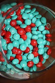 red and aqua M's